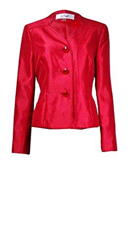 Le Suit Three-Button Shantung Blazer Jacket Crimson Red (Shantung Blazer)