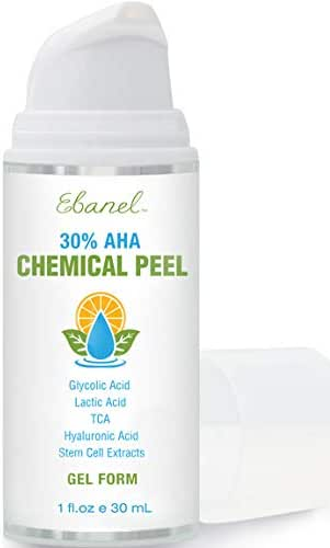 Ebanel Chemical Peel 30%, Gel Form, Glycolic Acid Peel Plus Lactic Acid & TCA Face Peel with Hyaluronic Acid, Vitamin C, Acne Treatment AHA Skin Peel for Acne Scars, Wrinkles, Fine Lines & Dark Spots