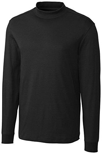 [Cutter & Buck Men's Long Sleeve Pima Belfair Mock Tee, Black, Medium] (Cutter Buck Logo Shirts)