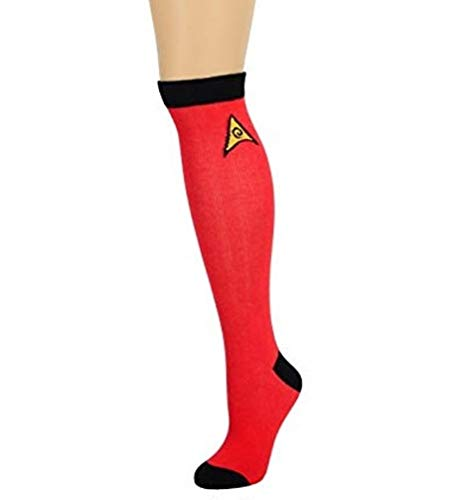 Star Trek Red Knee High Socks Uhura Scotty Adult Mens Womens One Size 9-11