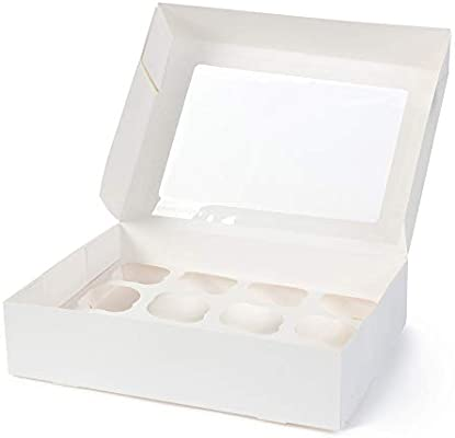 BIOZOYG Cajas para 12 Magdalenas, Cupcake Muffin con Inserto y ...