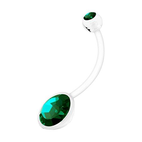 19 Mm Crystal (Flexible Bioflex Extra Long Pregnancy Belly Button Ring 14 gauge 19mm Emerald Crystal Navel Piercing Stud 1205)