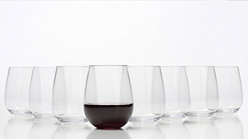 Stemless Wine Glasses - Unbreakable Shatterproof BPA Free Plastic Tritan (Set of 8) 16oz - Dishwasher Safe (Glasses Bulk In For Wine Sale)
