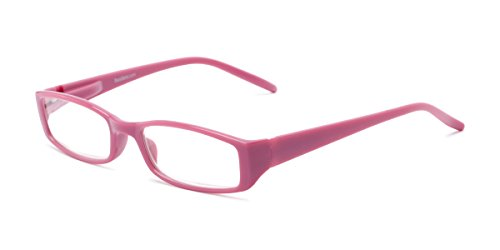 Readers.com Fully Magnified Reading Glasses: The Sophie, Colorful Trendy Rectangular Reader for Women - Pink, 1.25