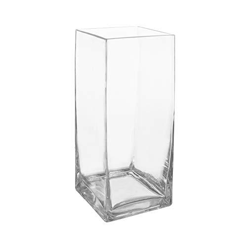 Royal Imports Flower Glass Vase Decorative Centerpiece for Home or Wedding Tall Rectangle Shape, 12