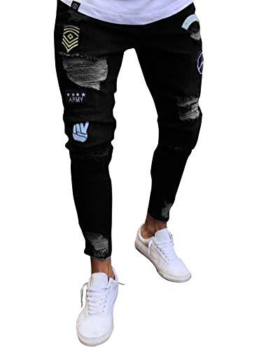 Personalidad Jeans Pantalones Pantalón Elasticos Vaqueros Agujero Hombres Pitillo Suncaya Negro vqAa0aw