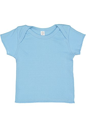 Rabbit Skins Infant Cotton Lap Shoulder Short Sleeve Tee (Light Blue, 12 Months) -