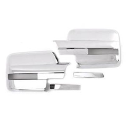 TX Racing Pair of Exterior Side Door Mirror Covers Chrome with Turn Signal Cutout for Ford F-150 2009-2014