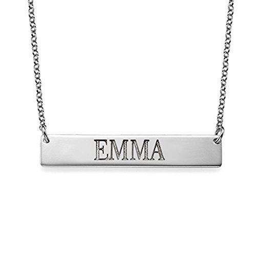 Bar Necklace Engraved in Sterling Silver Personalized Name Necklace in all Capital Letters - Custom (Capital Letter)