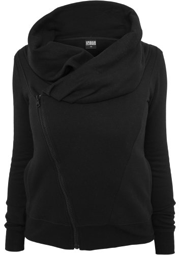 Urban Classics TB747 Ladies Asymetric Zip Jacket Regular Fit Woman XL Black Nero