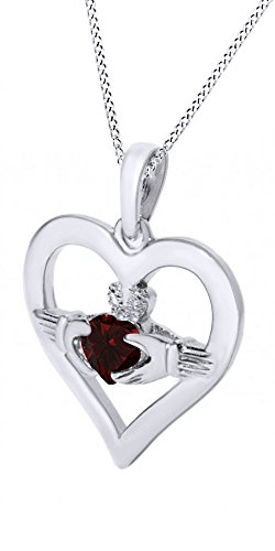 Garnet Claddagh Pendant (Claddagh Heart Pendant Necklace Simulated Garnet Gemstone 14k White Gold Over Sterling Silver)
