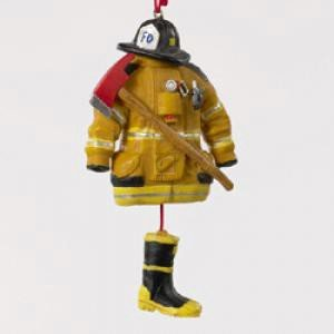 Amazon.com: Kurt Adler 4.5- Firefighter Uniform Christmas Ornament ...