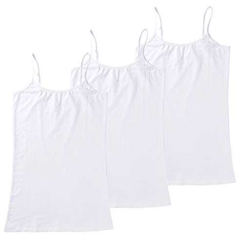 HOCAIES Women's Basic Solid Tank Tops Casual Cami Camisole with Adjustable Spaghetti Straps (3 Pack -White/White/White, M)