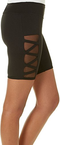 Hot Kiss Juniors Crisscross Mesh Panel Shorts X-Large Black for $<!--$10.80-->