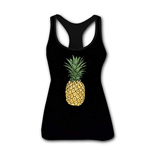 RODONO Pineapple Printed Funny Tank Top Sleeveless Graphics Tees for Women Black