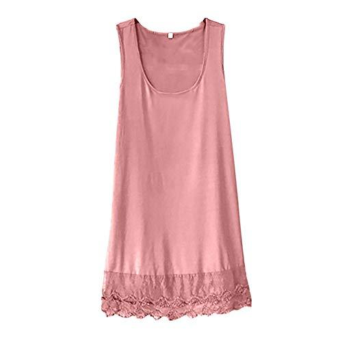 Women Summer Casual Dress Sleeveless Loose Swing Dress Solid Color Knee Length Dress Summer T-Shirt Dresses Myoumobi Pink