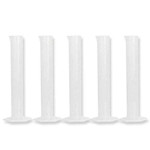 (5pcs/Set 50ml Plastic Translucent Laboratory Cylinder Graduated Measuring Cylinder Tool for Chemistry Lab Test School Supplies)
