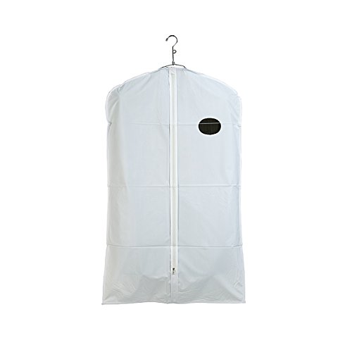 Econoco 40/W 3 gauge Vinyl Taffeta Finish Garment Cover with Oval Window and Center Zipper, 24'' x 40'', White with White Trim (Pack of 100) by Econoco