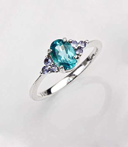 Love Mirror: Paraiba apatite ring for women in 925 Sterling silver/birthday gift for her/tiny dainty ring/handmade Mother