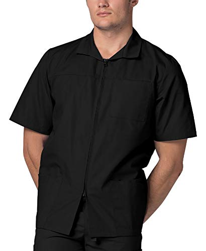 (Adar Universal Men's Zippered Short Sleeve Jacket (Available in 7 Colors) - 607 - Black - XL)
