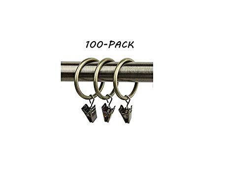 100 Pack Rings Curtain Clips Strong Metal Decorative Drapery Window Curtain Ring with Clip Rustproof Vintage 1 Inch Interior Diameter Brown
