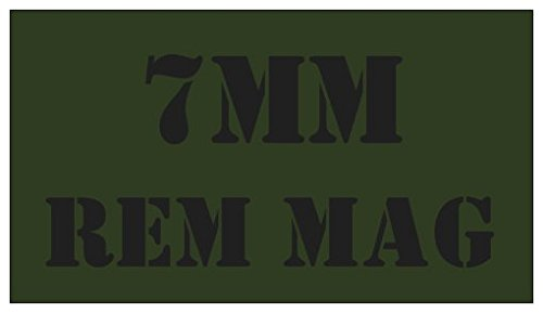 7 Mm Mag Ammo (5pcs 7MM REM MAG OD Green with Black Lettering for Military Style Steel Ammo Can)