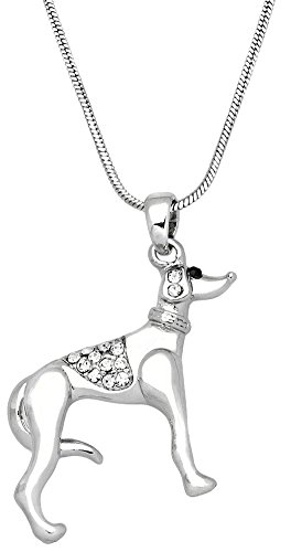 Silver Tone Greyhound Dog/Puppy Pendant Necklace - Choose Clear or Black Crystals (Clear) (Service Dog Jewelry)