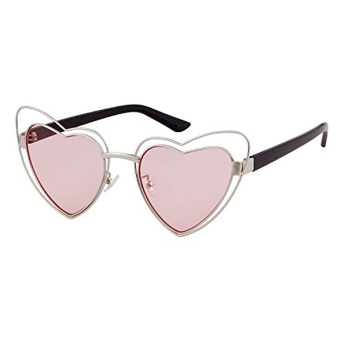 Clout Goggle Heart Sunglasses Vintage Cat Eye Mod Style Retro Kurt Cobain Glasses (Silver Frame Pink Lens) ()