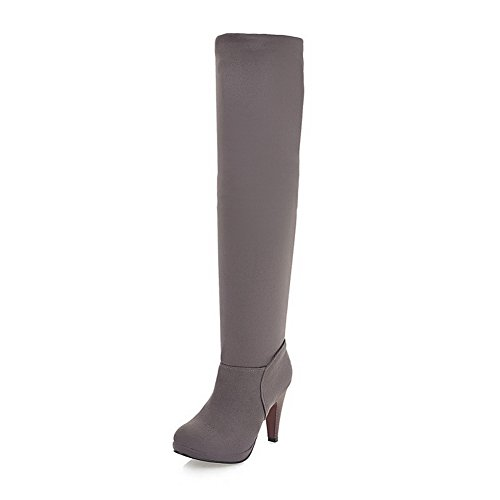 AdeeSu AdeeSu AdeeSu Womens Pull-On Solid Wheeled Heel Shoes Frosted Boots B01NCO0LWP Shoes 46039c