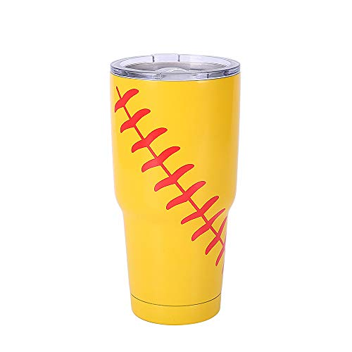 E-FirstFeeling Softball Tumbler 30 oz Stainless Steel Vacuum Insulated Cup Sports Travel Coffee Mug with Lid (Softball Yellow)