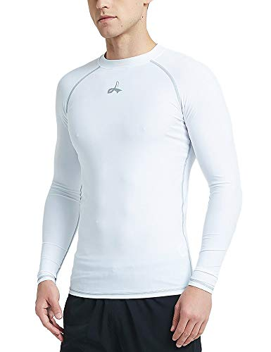 LAFROI Men's UPF 50+ Baselayer Performance Fit Shirt Compression Rash Guard Long Sleeve (White, XXXL)