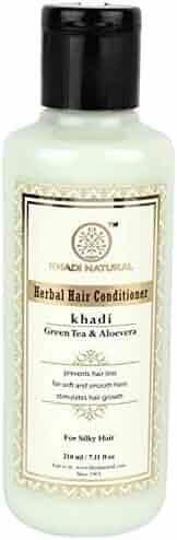 Khadi Natural Ayurvedic Herbal Green Tea Aloe Vera Conditioner for all Hair Types SLS and Paraben Free (210 ml / 7.1 fl oz)