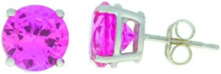 4 Ct Created Pink Sapphire Round Stud Earrings .925 Sterling Silver Rhodium Finish