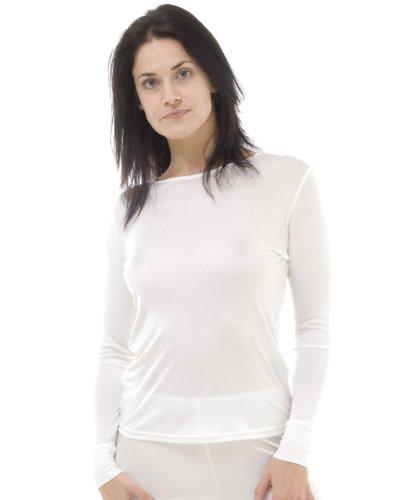 Seda camiseta térmica de mangas largas Blanco Marfil