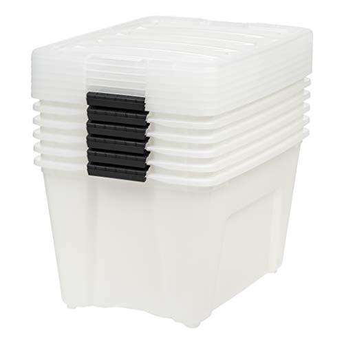 Pearl 6 Count IRIS 53 Qt Stack /& Pull Storage Lidded Container Box Bin System
