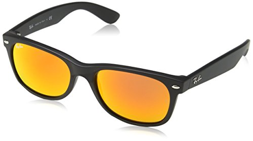 Ray-Ban Unisex RB2132 New Wayfarer 55mm Rubber Black Frame/Brown Mirror Red Lens One Size ()