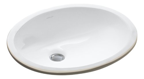 Kohler K-2209-0 Ceramic undermount Oval Bathroom Sink, 19.13 x 15.69 x 9.31 inches, White