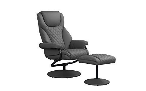 Divano Roma Furniture Office Swivel Chair with Footstool, Faux Leather Reclining Executive and Gaming Chairs (Grey)