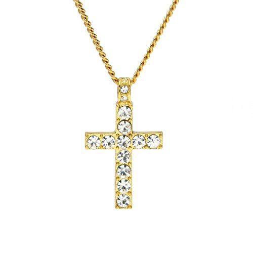 Owill Men Women Jewelry Bling Rhinestone Crystal Cross Pendant Necklace For Casual Life (One Size, (Cross Gold Bling)