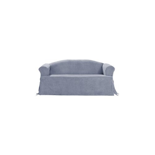 Sure Fit Soft Suede T-Cushion - Sofa Slipcover  - Smoke Blue (SF34667) (Slip Covers For Sofa Cushions)