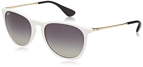 Ray-Ban RB4171 Erika Round Sunglasses, Shiny White Red/Grey Gradient, 54 mm