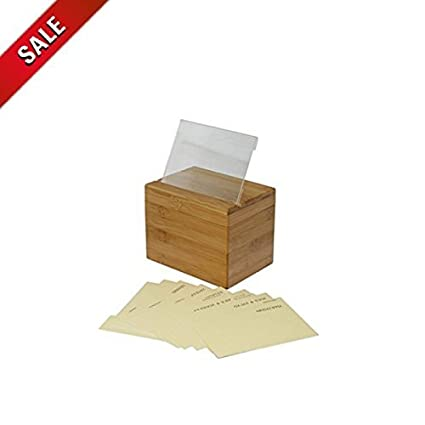 Wooden Recipe Box w// 100 Cards /& Dividers 4x6 Double Sided Vintage Rustic Maple