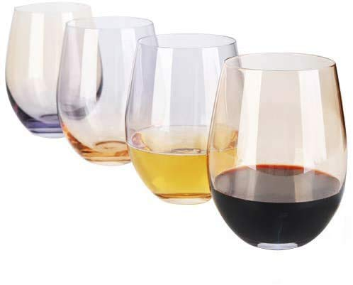 [4-Pack,18 Oz]DESIGN·MASTER Colorful Stemless Wine Glasses, 2021 Fashion Trends, Drinking Glasses, Ideal for Red and…