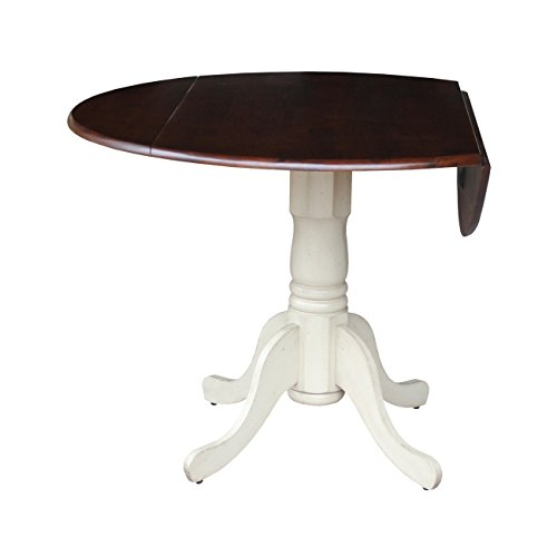 International Concepts Antique White and Espresso Wood 42-inch Round Dual Drop Leaf Pedestal Table - antiqued almond/espresso Round Table Top End Pedestal French Vintage Antique Base Svitlife -