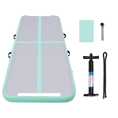 "ANCHEER Inflatable Air Track Tumbling Mat Air Floor for Gymnastic Training, Home Use, Cheerleading, Yoga, Taekwondo, W/Hand Pump & Repair Kit, 9.8′ x 3.3′ x 4"" (Mint Green_9.8′ x 3.3′ x 4"")"