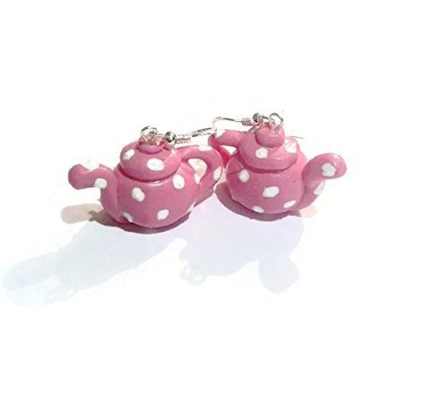 Sassy Pink Polka Dot Teapot Earrings