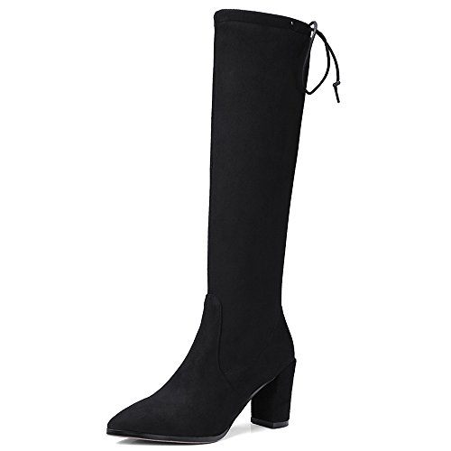 Nine Seven Suede Leather Womens Pointy Toe Chunky Heel Simple Handmade Elegant Over The Knee Boots Black ZwVdC