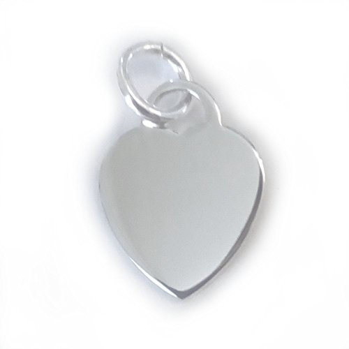 - 4 qty. Engravable Sterling Silver Heart Charm with Ring (16x12mm)By JensFindings