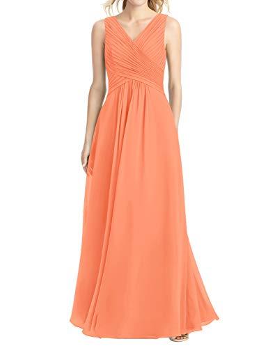 Cdress Chiffon Bridesmaid Dresses V-Neck Party Prom Dress Wedding Evening Formal Gowns Plus Size US 18W Orange