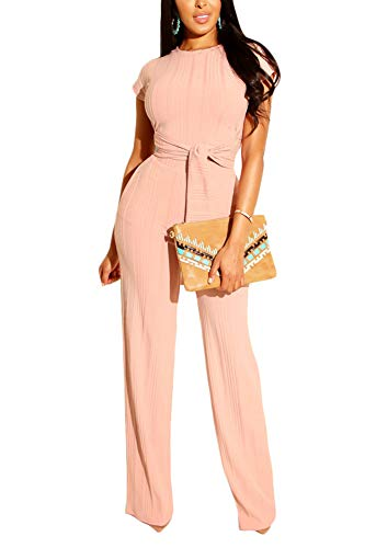 (Womens 2 Piece O-Neck Short Sleeve Crop Tops High Wairst Solid Long Pants Jumpers 2 Piece)